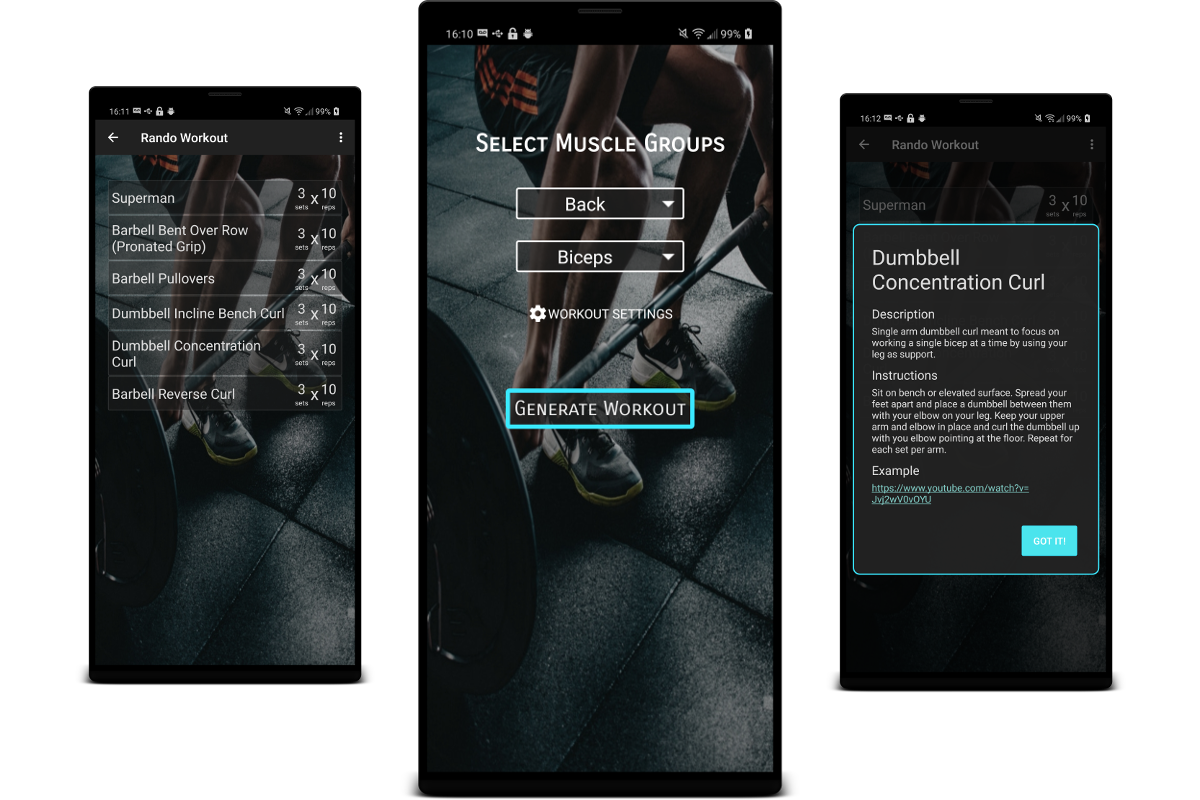 Rando Workout app screenshots